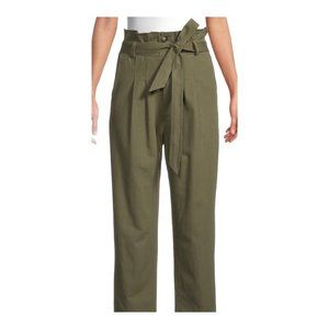 7FAM Women's Olive High Waisted Paperbag Pant US M
